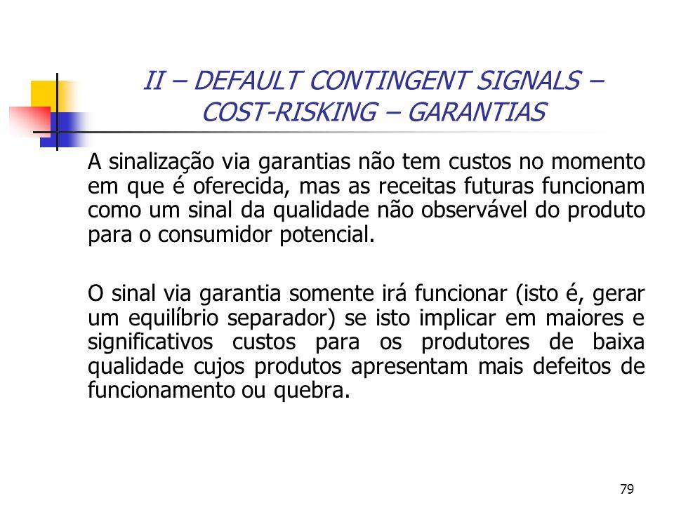 79 II – DEFAULT CONTINGENT SIGNALS – COST-RISKING – GARANTIAS A sinalização via garantias não tem custos no momento em que é oferecida, mas as receita