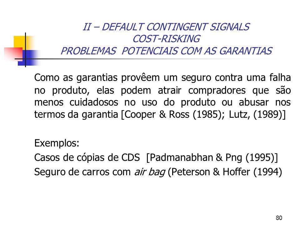 80 II – DEFAULT CONTINGENT SIGNALS COST-RISKING PROBLEMAS POTENCIAIS COM AS GARANTIAS Como as garantias provêem um seguro contra uma falha no produto,