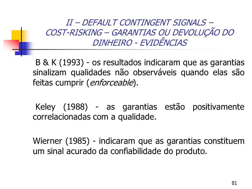 81 II – DEFAULT CONTINGENT SIGNALS – COST-RISKING – GARANTIAS OU DEVOLUÇÃO DO DINHEIRO - EVIDÊNCIAS B & K (1993) - os resultados indicaram que as gara