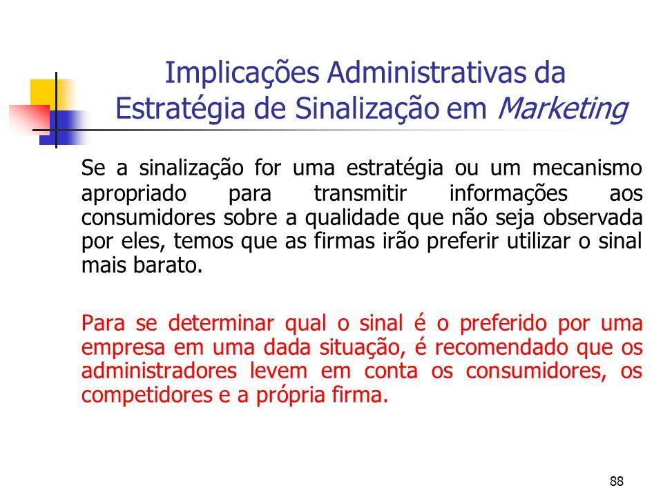 88 Implicações Administrativas da Estratégia de Sinalização em Marketing Se a sinalização for uma estratégia ou um mecanismo apropriado para transmiti