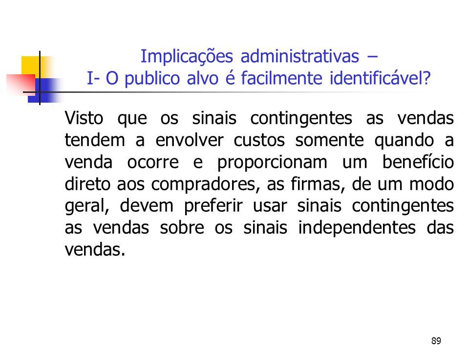 89 Implicações administrativas – I- O publico alvo é facilmente identificável? Visto que os sinais contingentes as vendas tendem a envolver custos som