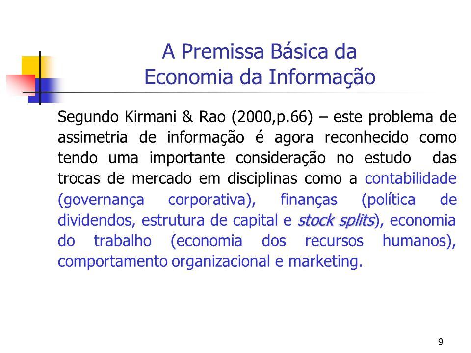 9 A Premissa Básica da Economia da Informação stock splits Segundo Kirmani & Rao (2000,p.66) – este problema de assimetria de informação é agora recon
