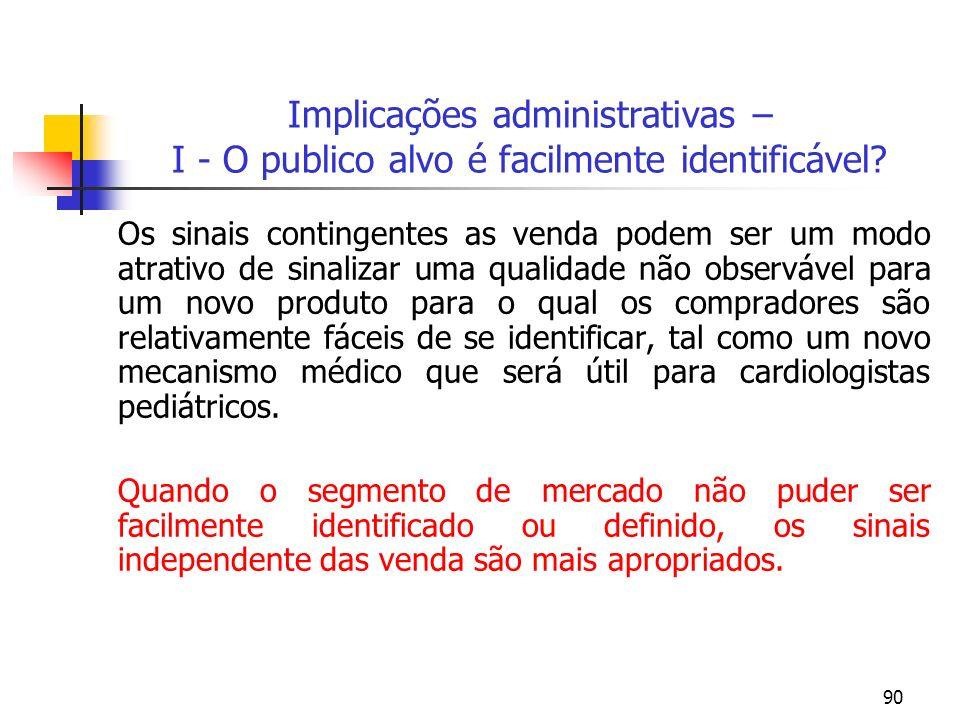 90 Implicações administrativas – I - O publico alvo é facilmente identificável? Os sinais contingentes as venda podem ser um modo atrativo de sinaliza