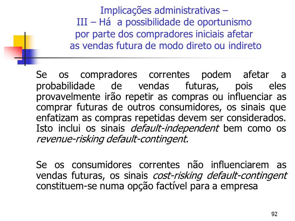 92 Implicações administrativas – III – Há a possibilidade de oportunismo por parte dos compradores iniciais afetar as vendas futura de modo direto ou