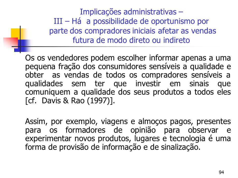 94 Implicações administrativas – III – Há a possibilidade de oportunismo por parte dos compradores iniciais afetar as vendas futura de modo direto ou