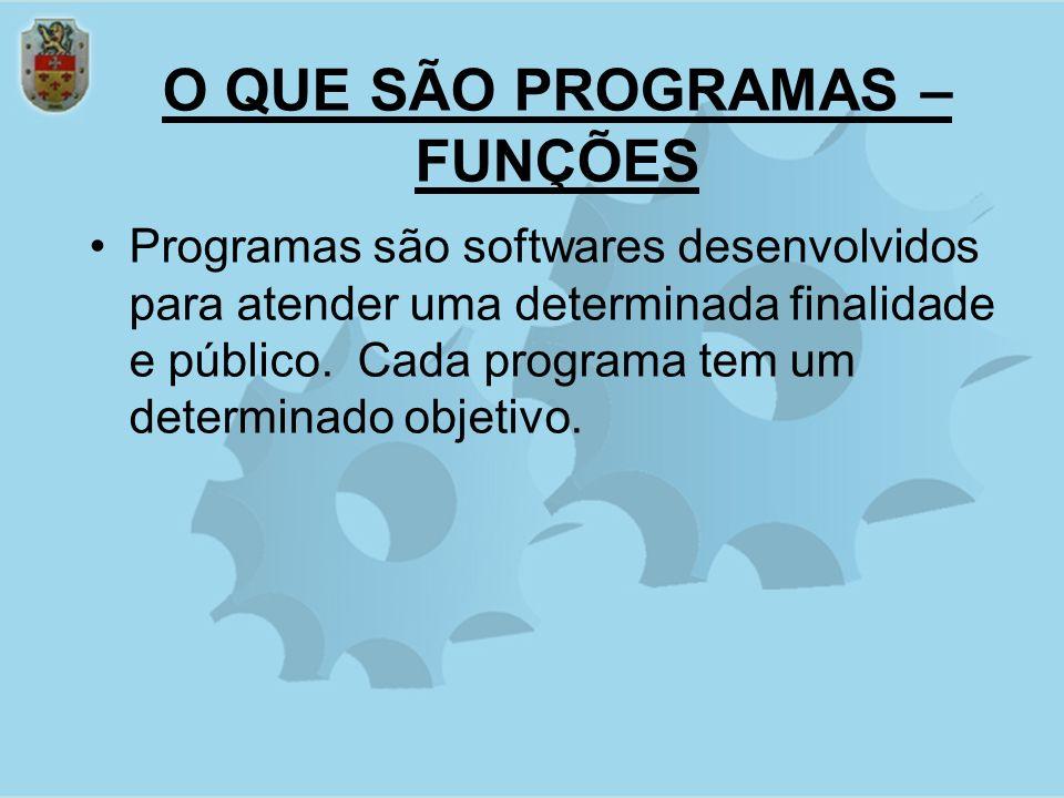 O QUE SÃO PROGRAMAS – FUNÇÕES Programas são softwares desenvolvidos para atender uma determinada finalidade e público.