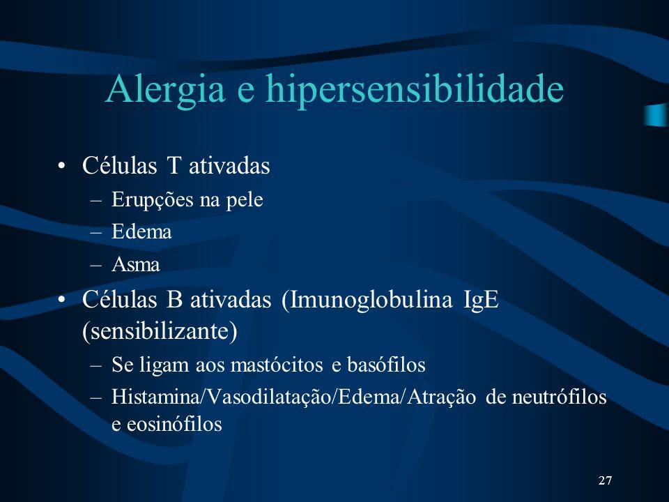 27 Alergia e hipersensibilidade Células T ativadas –Erupções na pele –Edema –Asma Células B ativadas (Imunoglobulina IgE (sensibilizante) –Se ligam ao