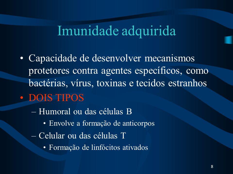 8 Imunidade adquirida Capacidade de desenvolver mecanismos protetores contra agentes específicos, como bactérias, vírus, toxinas e tecidos estranhos D