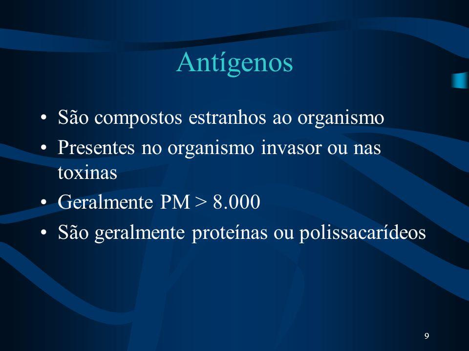 9 Antígenos São compostos estranhos ao organismo Presentes no organismo invasor ou nas toxinas Geralmente PM > 8.000 São geralmente proteínas ou polis