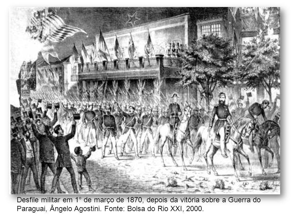Desfile militar em 1° de março de 1870, depois da vitória sobre a Guerra do Paraguai, Ângelo Agostini. Fonte: Bolsa do Rio XXI, 2000.