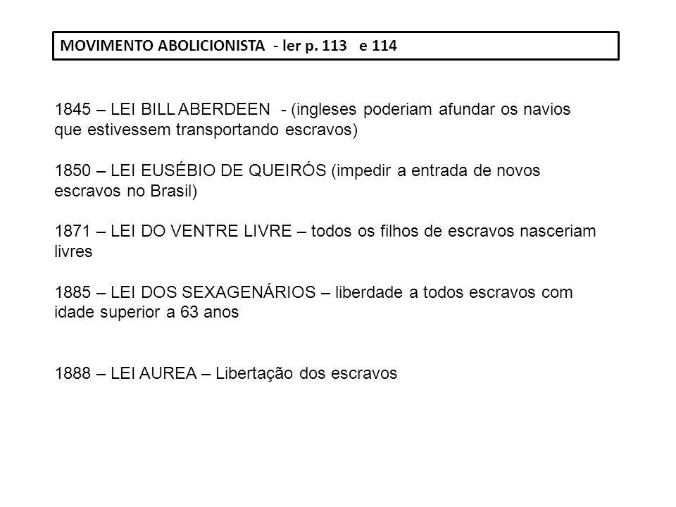 MOVIMENTO ABOLICIONISTA - ler p. 113 e 114 1845 – LEI BILL ABERDEEN - (ingleses poderiam afundar os navios que estivessem transportando escravos) 1850
