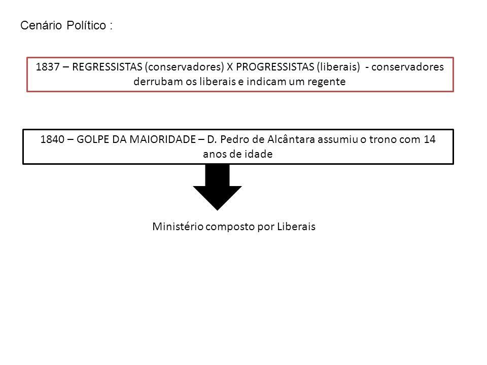 1837 – REGRESSISTAS (conservadores) X PROGRESSISTAS (liberais) - conservadores derrubam os liberais e indicam um regente 1840 – GOLPE DA MAIORIDADE –