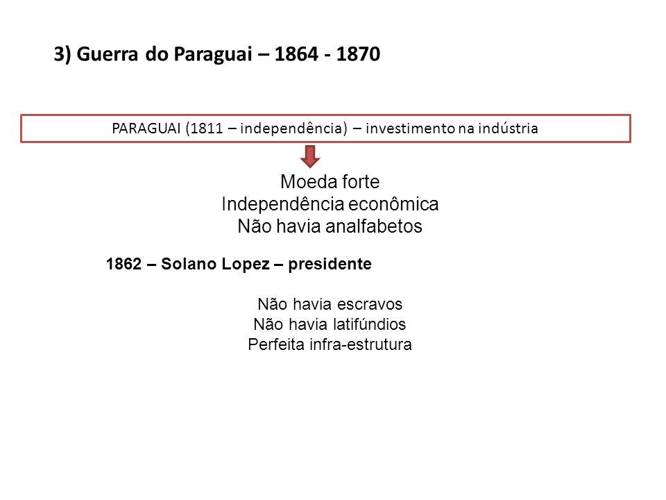 3) Guerra do Paraguai – 1864 - 1870 PARAGUAI (1811 – independência) – investimento na indústria Moeda forte Independência econômica Não havia analfabe