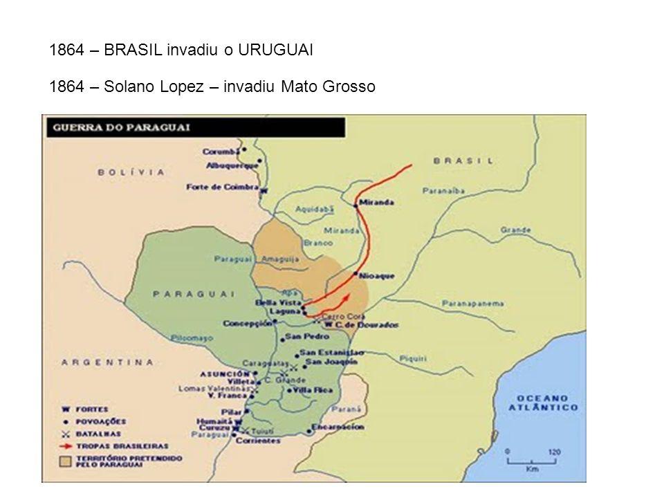 1864 – Solano Lopez declarou guerra à Argentina 1865 – BRASIL + ARGENTINA + URUGUAI => TRIPLICE ALIANÇA Com apoio da Inglaterra – atacar o Paraguai e depor Solano Lopez 1870 – Triplíce Aliança venceu a guerra: Paraguai destruído e Solano Lopez foi deposto.