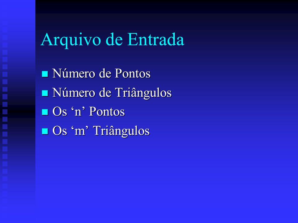 Arquivo de Entrada Número de Pontos Número de Pontos Número de Triângulos Número de Triângulos Os n Pontos Os n Pontos Os m Triângulos Os m Triângulos