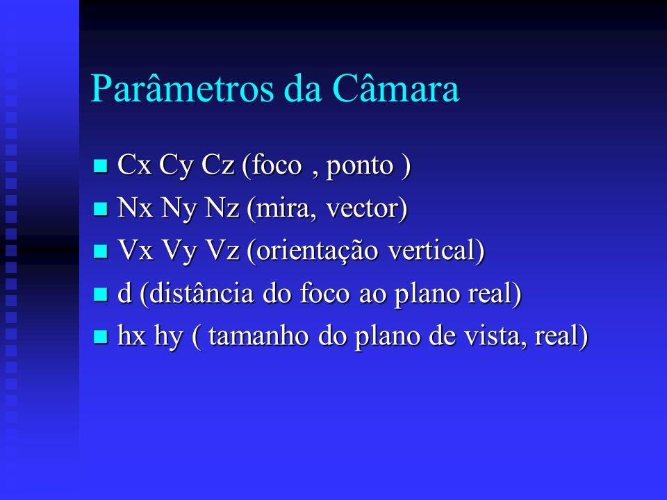 Parâmetros da Câmara Cx Cy Cz (foco, ponto ) Cx Cy Cz (foco, ponto ) Nx Ny Nz (mira, vector) Nx Ny Nz (mira, vector) Vx Vy Vz (orientação vertical) Vx Vy Vz (orientação vertical) d (distância do foco ao plano real) d (distância do foco ao plano real) hx hy ( tamanho do plano de vista, real) hx hy ( tamanho do plano de vista, real)