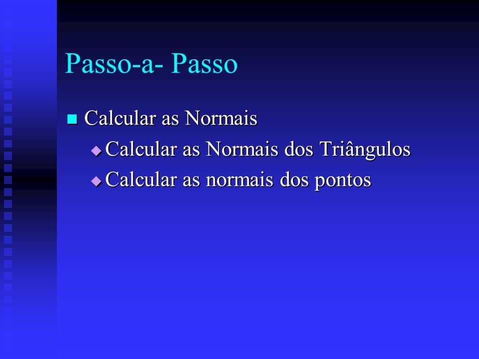 Passo-a- Passo Calcular as Normais Calcular as Normais Calcular as Normais dos Triângulos Calcular as Normais dos Triângulos Calcular as normais dos pontos Calcular as normais dos pontos