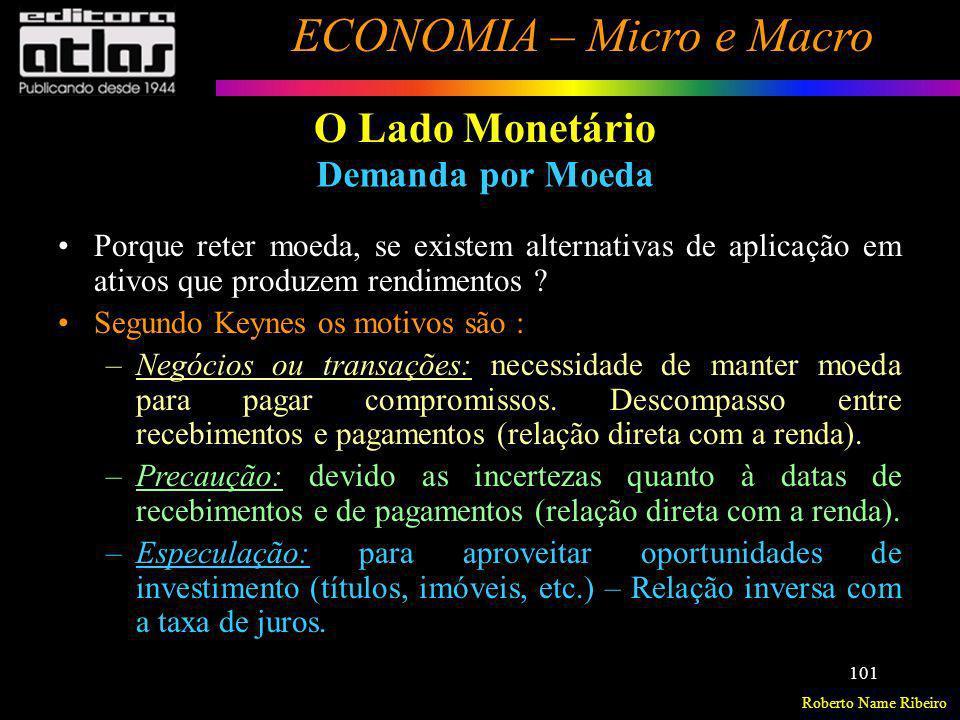 Roberto Name Ribeiro ECONOMIA – Micro e Macro 101 O Lado Monetário Demanda por Moeda Porque reter moeda, se existem alternativas de aplicação em ativo