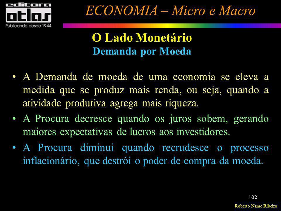 Roberto Name Ribeiro ECONOMIA – Micro e Macro 102 A Demanda de moeda de uma economia se eleva a medida que se produz mais renda, ou seja, quando a ati