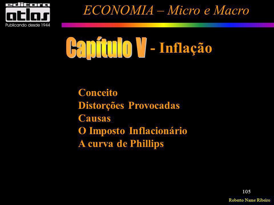 Roberto Name Ribeiro ECONOMIA – Micro e Macro 105 Conceito Distorções Provocadas Causas O Imposto Inflacionário A curva de Phillips - Inflação