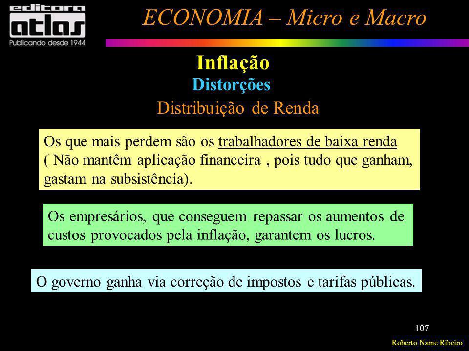 Roberto Name Ribeiro ECONOMIA – Micro e Macro 107 Inflação Distorções Distribuição de Renda Os que mais perdem são os trabalhadores de baixa renda ( N