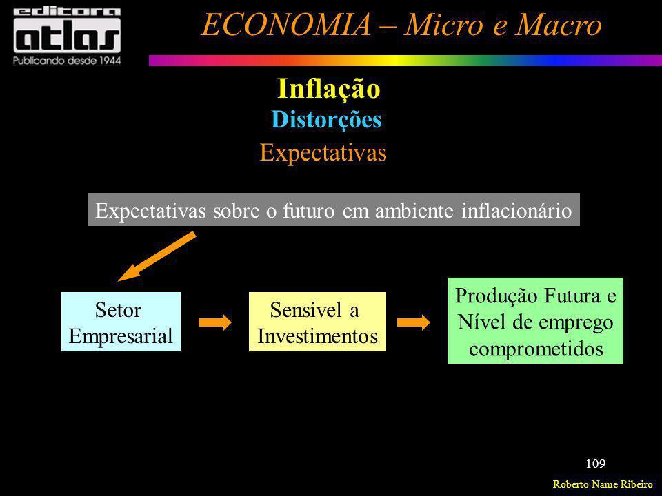 Roberto Name Ribeiro ECONOMIA – Micro e Macro 109 Inflação Distorções Expectativas Produção Futura e Nível de emprego comprometidos Setor Empresarial