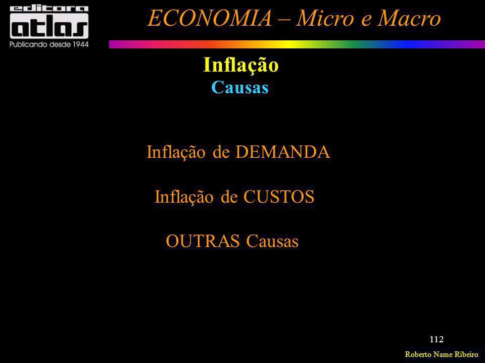 Roberto Name Ribeiro ECONOMIA – Micro e Macro 112 Inflação Causas Inflação de DEMANDA Inflação de CUSTOS OUTRAS Causas