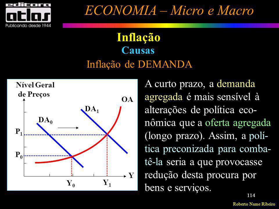 Roberto Name Ribeiro ECONOMIA – Micro e Macro 114 Inflação Inflação de DEMANDA Causas Nível Geral de Preços Y 1 Y 0 DA 0 DA 1 OA Y P1P1 P0 P0 A curto