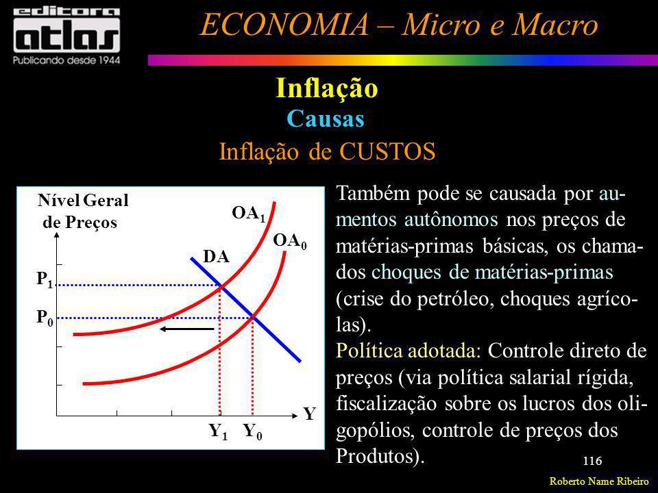 Roberto Name Ribeiro ECONOMIA – Micro e Macro 116 Inflação Inflação de CUSTOS Causas Também pode se causada por au- mentos autônomos nos preços de mat