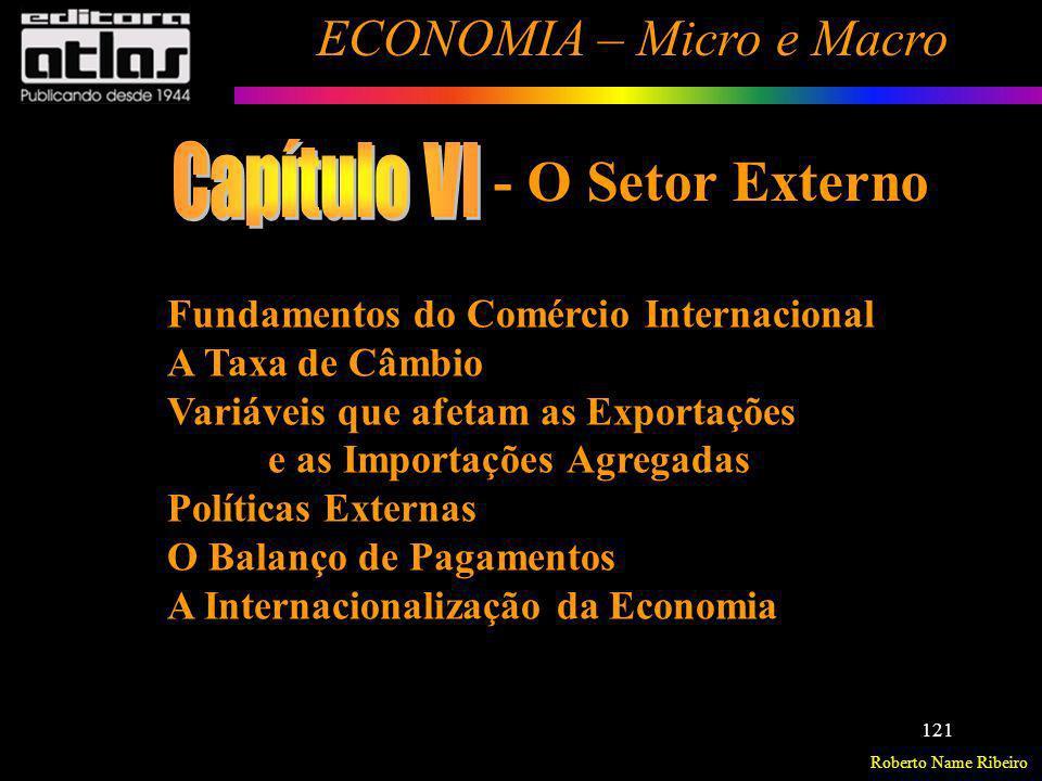 Roberto Name Ribeiro ECONOMIA – Micro e Macro 121 Fundamentos do Comércio Internacional A Taxa de Câmbio Variáveis que afetam as Exportações e as Impo