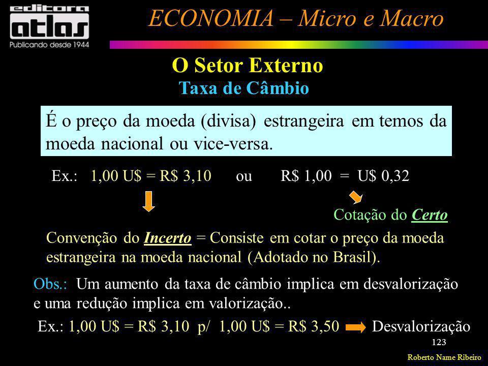 Roberto Name Ribeiro ECONOMIA – Micro e Macro 123 O Setor Externo Taxa de Câmbio É o preço da moeda (divisa) estrangeira em temos da moeda nacional ou
