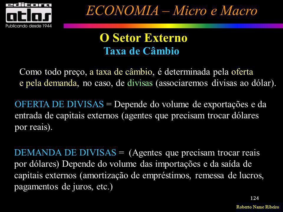 Roberto Name Ribeiro ECONOMIA – Micro e Macro 124 O Setor Externo Taxa de Câmbio Como todo preço, a taxa de câmbio, é determinada pela oferta e pela d