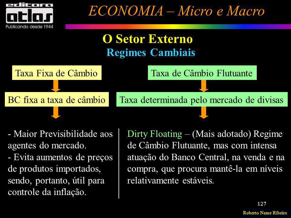 Roberto Name Ribeiro ECONOMIA – Micro e Macro 127 O Setor Externo Regimes Cambiais Taxa Fixa de Câmbio BC fixa a taxa de câmbio Taxa de Câmbio Flutuan