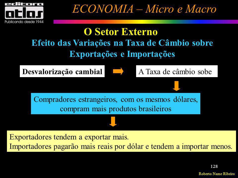 Roberto Name Ribeiro ECONOMIA – Micro e Macro 128 O Setor Externo Efeito das Variações na Taxa de Câmbio sobre Exportações e Importações Desvalorizaçã