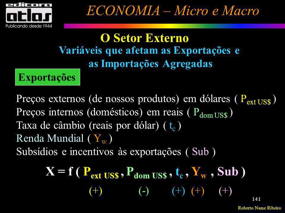 Roberto Name Ribeiro ECONOMIA – Micro e Macro 141 Variáveis que afetam as Exportações e as Importações Agregadas Exportações O Setor Externo Preços ex