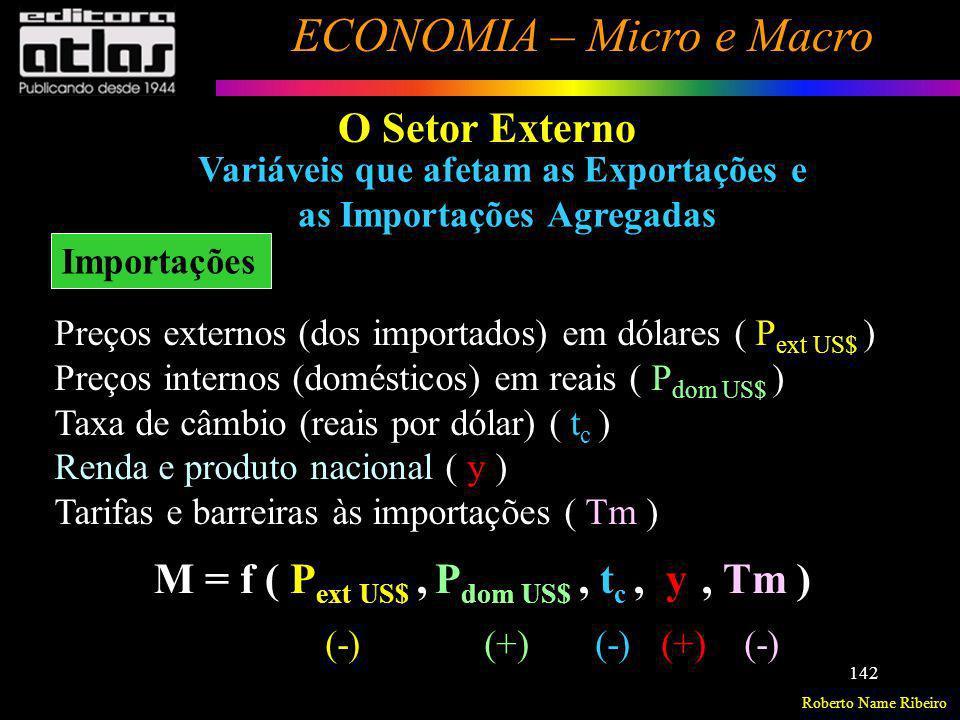 Roberto Name Ribeiro ECONOMIA – Micro e Macro 142 Variáveis que afetam as Exportações e as Importações Agregadas O Setor Externo Importações Preços ex
