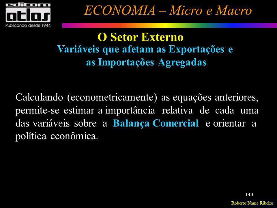 Roberto Name Ribeiro ECONOMIA – Micro e Macro 143 O Setor Externo Variáveis que afetam as Exportações e as Importações Agregadas Calculando (econometr