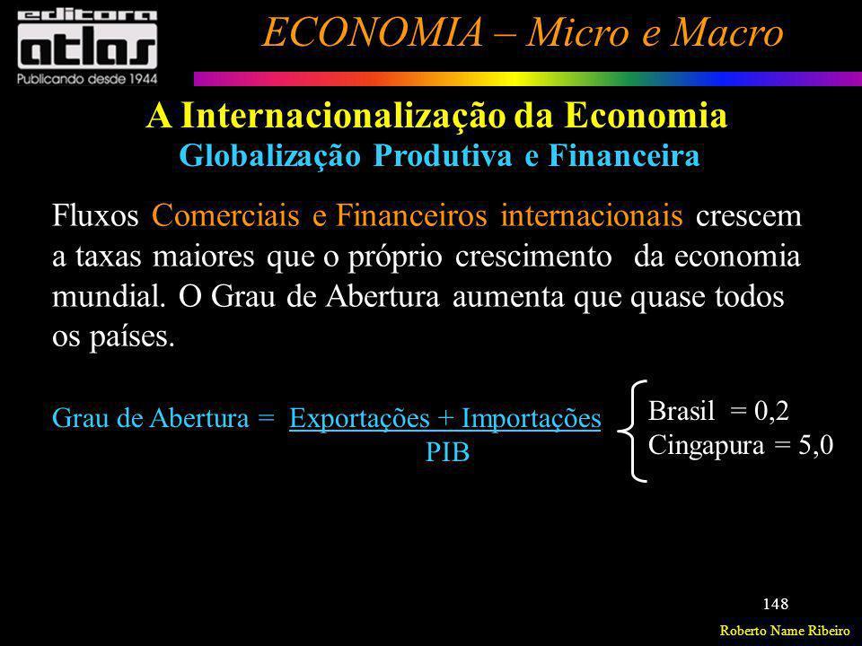 Roberto Name Ribeiro ECONOMIA – Micro e Macro 148 A Internacionalização da Economia Globalização Produtiva e Financeira Fluxos Comerciais e Financeiro