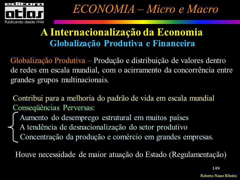 Roberto Name Ribeiro ECONOMIA – Micro e Macro 149 A Internacionalização da Economia Globalização Produtiva e Financeira Globalização Produtiva – Produ