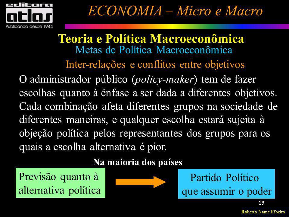 Roberto Name Ribeiro ECONOMIA – Micro e Macro 15 Metas de Política Macroeconômica Inter-relações e conflitos entre objetivos O administrador público (