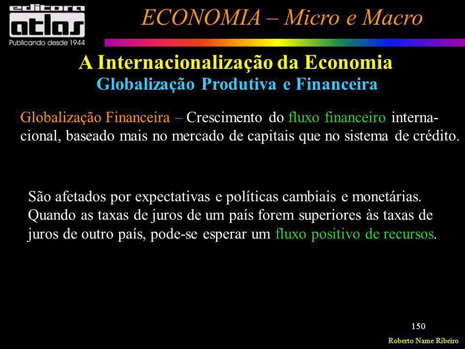 Roberto Name Ribeiro ECONOMIA – Micro e Macro 150 A Internacionalização da Economia Globalização Produtiva e Financeira Globalização Financeira – Cres