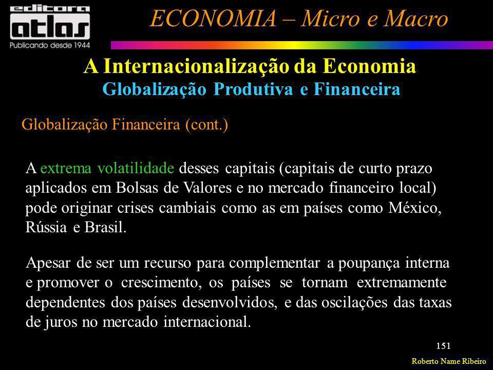 Roberto Name Ribeiro ECONOMIA – Micro e Macro 151 A Internacionalização da Economia Globalização Produtiva e Financeira Globalização Financeira (cont.
