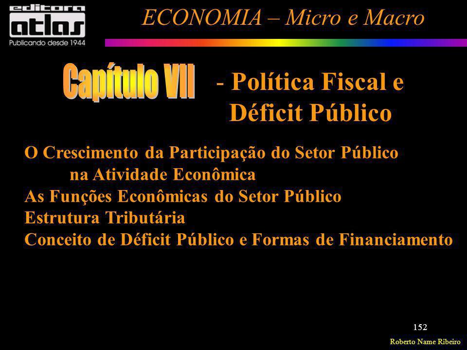 Roberto Name Ribeiro ECONOMIA – Micro e Macro 152 O Crescimento da Participação do Setor Público na Atividade Econômica As Funções Econômicas do Setor