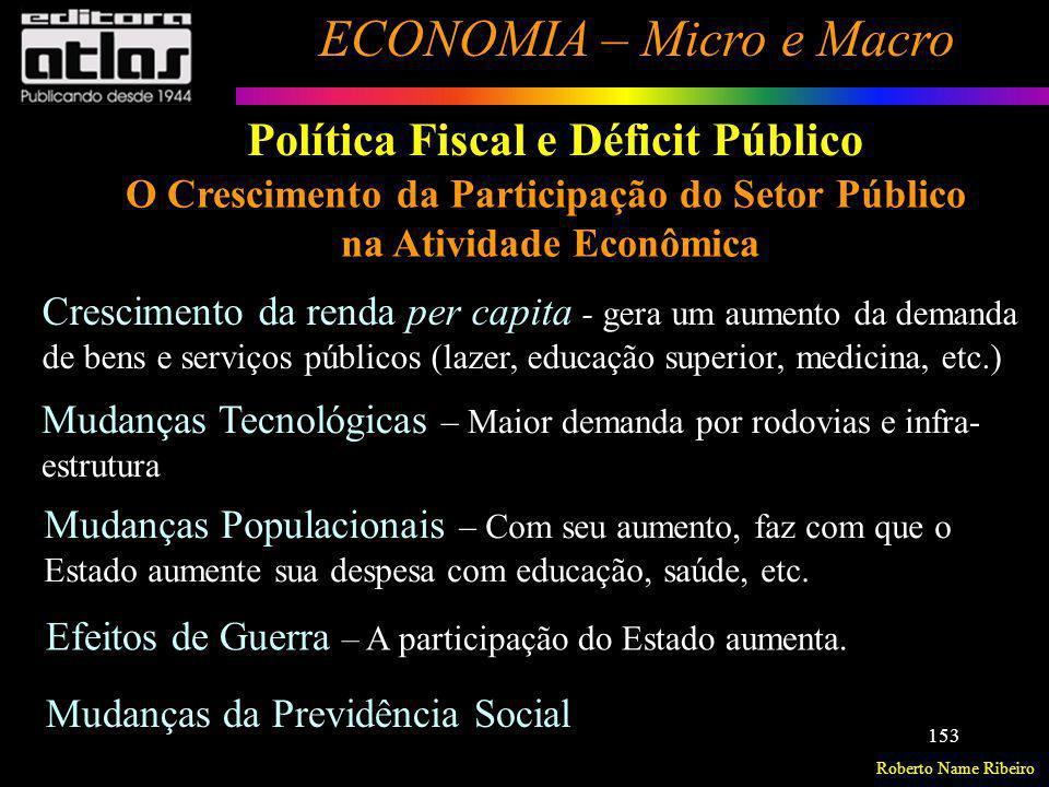 Roberto Name Ribeiro ECONOMIA – Micro e Macro 153 Política Fiscal e Déficit Público O Crescimento da Participação do Setor Público na Atividade Econôm