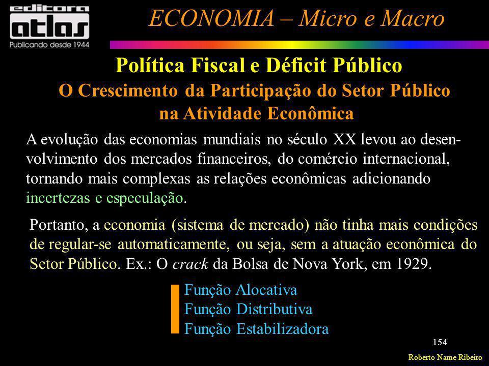 Roberto Name Ribeiro ECONOMIA – Micro e Macro 154 Política Fiscal e Déficit Público O Crescimento da Participação do Setor Público na Atividade Econôm
