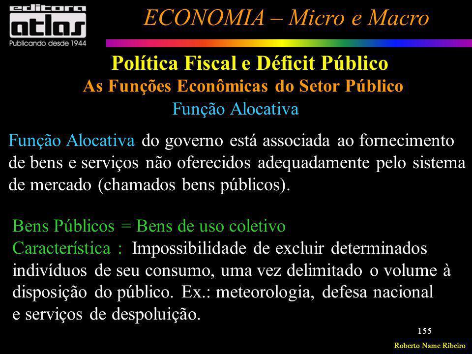 Roberto Name Ribeiro ECONOMIA – Micro e Macro 155 Política Fiscal e Déficit Público As Funções Econômicas do Setor Público Função Alocativa Função Alo