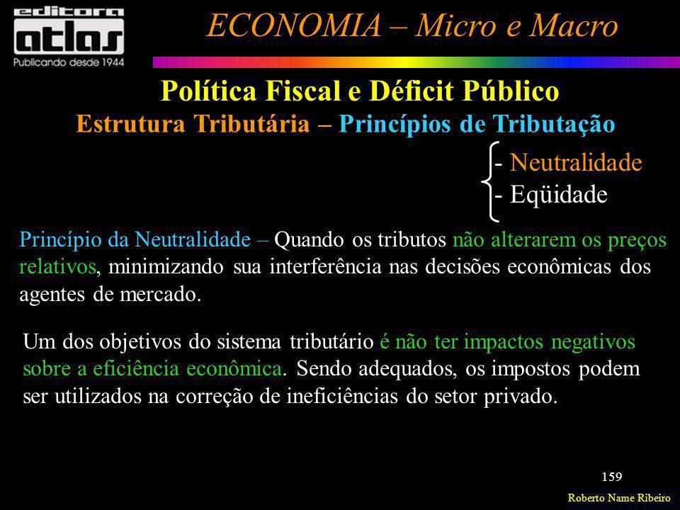 Roberto Name Ribeiro ECONOMIA – Micro e Macro 159 Política Fiscal e Déficit Público Estrutura Tributária – Princípios de Tributação - Neutralidade - E