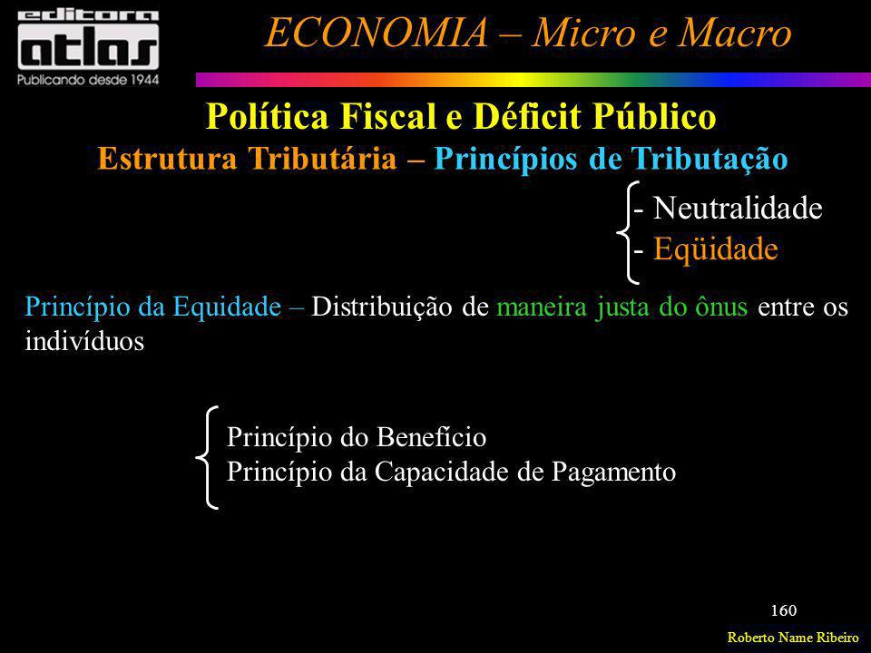 Roberto Name Ribeiro ECONOMIA – Micro e Macro 160 Política Fiscal e Déficit Público Estrutura Tributária – Princípios de Tributação - Neutralidade - E