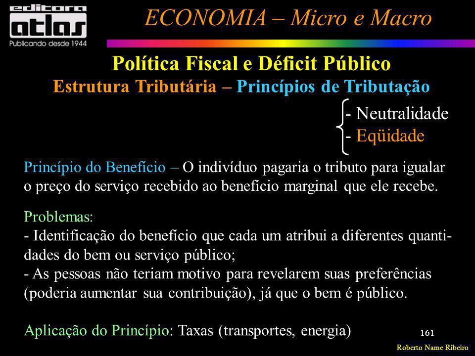 Roberto Name Ribeiro ECONOMIA – Micro e Macro 161 Política Fiscal e Déficit Público Estrutura Tributária – Princípios de Tributação - Neutralidade - E