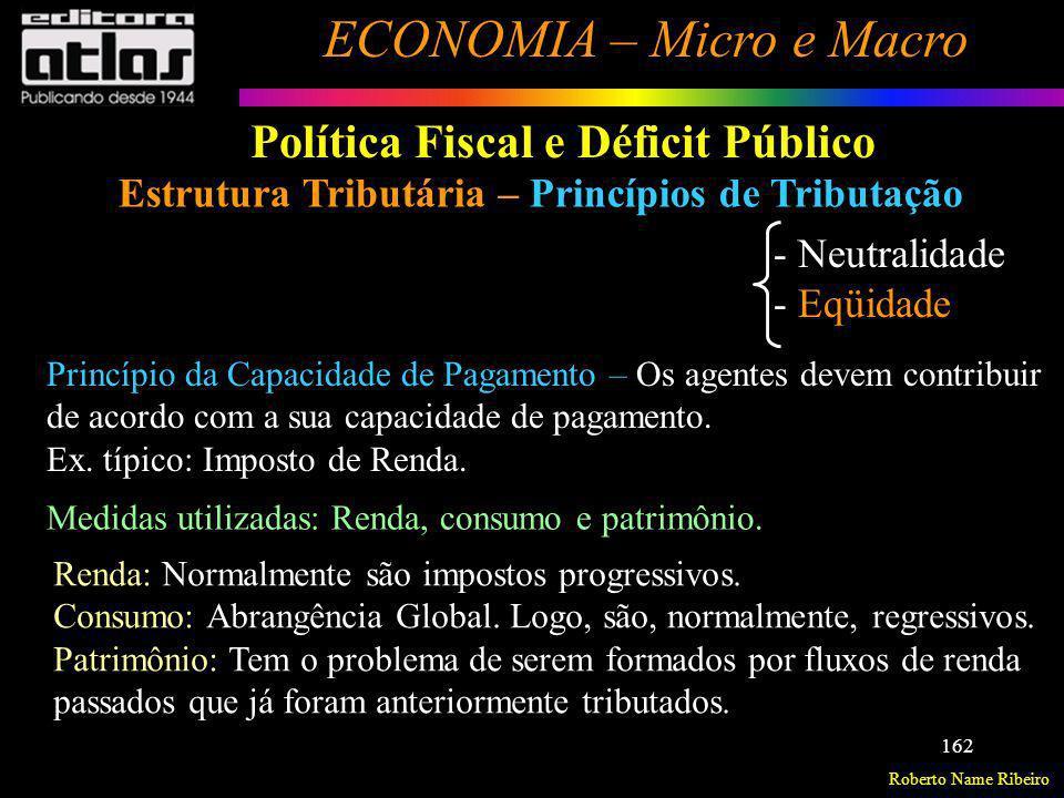 Roberto Name Ribeiro ECONOMIA – Micro e Macro 162 Política Fiscal e Déficit Público Estrutura Tributária – Princípios de Tributação - Neutralidade - E
